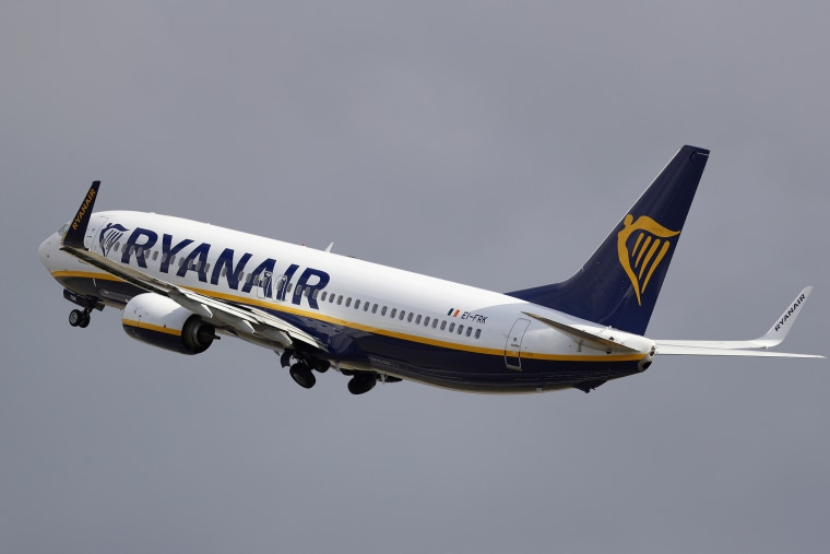 A Ryanair plane departs from Stansted Airport