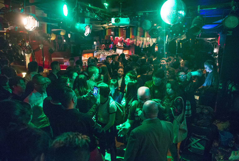 People attend a fundraiser for marriage equality in Taiwan at The Stonewall Inn in New York