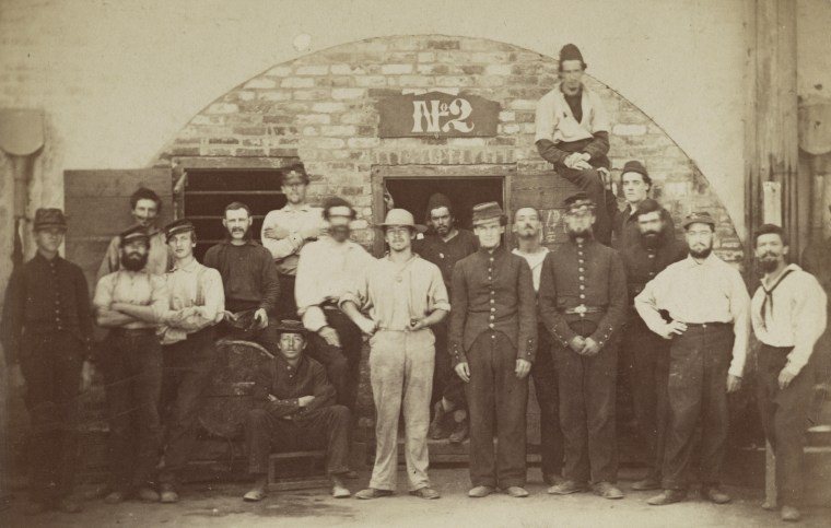 Captured Union soldiers outside of a cell at Castle Pickney in Charleston