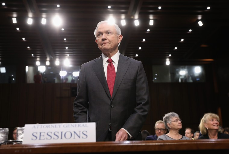 Attorney General Jeff Sessions arrives before the Senate Intelligence Committee