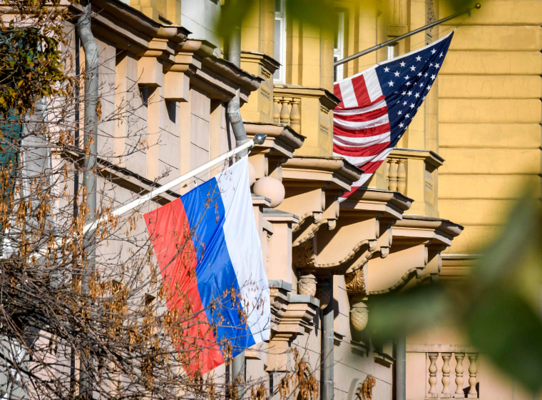 Image: A Russian flag flies next to the US embassy building in Moscow on Oct. 22, 2018.