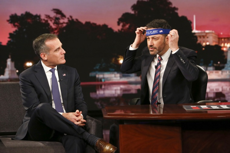 "Jimmy Kimmel Live: After The Midterms for Tuesday, Nov. 6 included Sacha Baron Cohen (""Who Is America?""), and Eric Garcetti (Mayor of Los Angeles)."