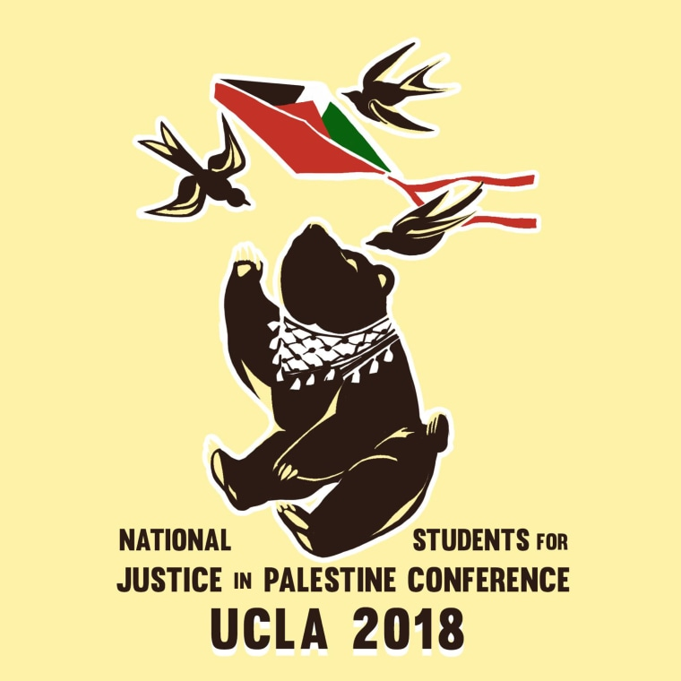 "The original artwork for the National Students of Justice in Palestine Conference include the words ""UCLA 2018"" in large font along the bottom."