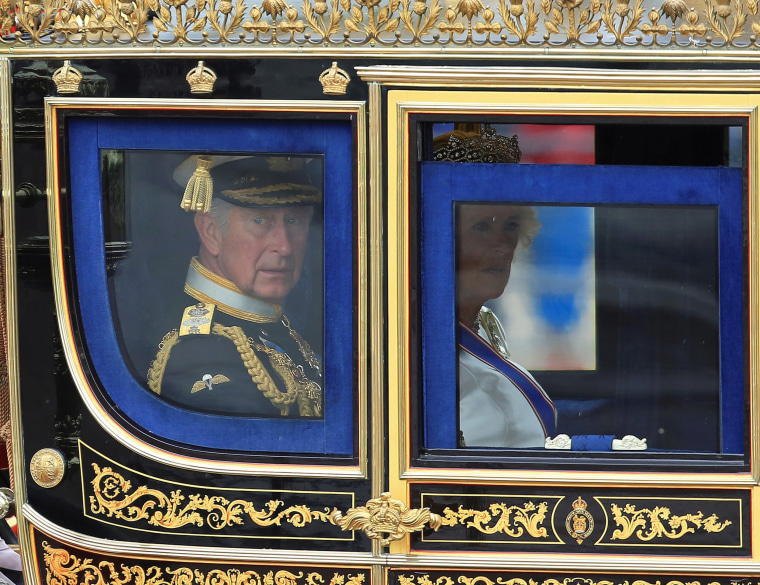 Image: Britain's Prince Charles and Camilla, Duchess of Cornwall, are driven by carriage from Buckingham Palace to the Houses of Parliament for the State Opening of Parliament