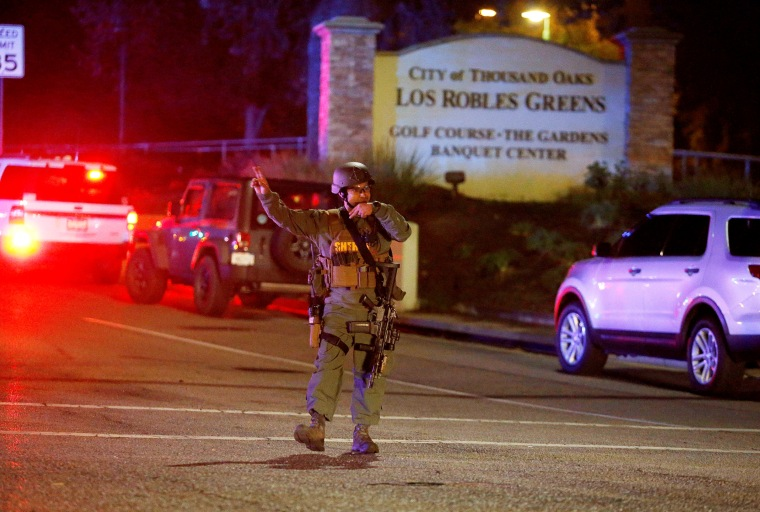 Police guard the site of a shooting at the Borderline Bar and Grill in Thousand Oaks on Nov. 8, 2018.