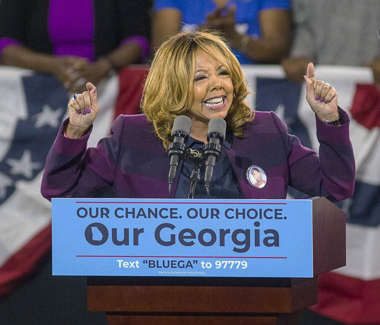 Image: Democrat Lucy McBath speaks during a rally for Democratic gubernatorial candidate Stacey Abrams at Morehouse College in Atlanta