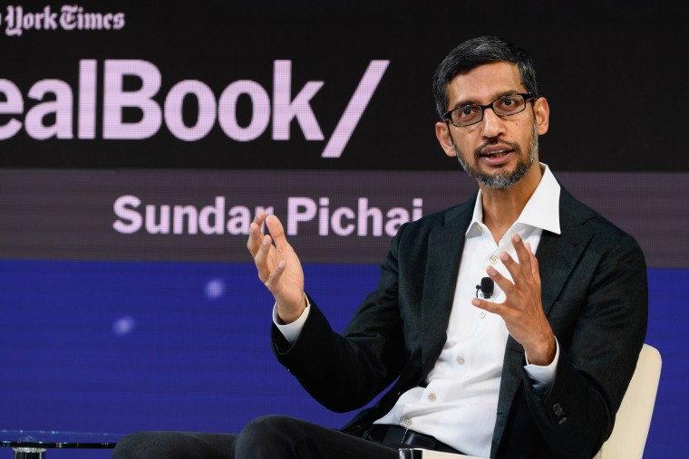 Sundar Pichai, the CEO of Google Inc., speaks at an event in New York on Nov. 1, 2018.