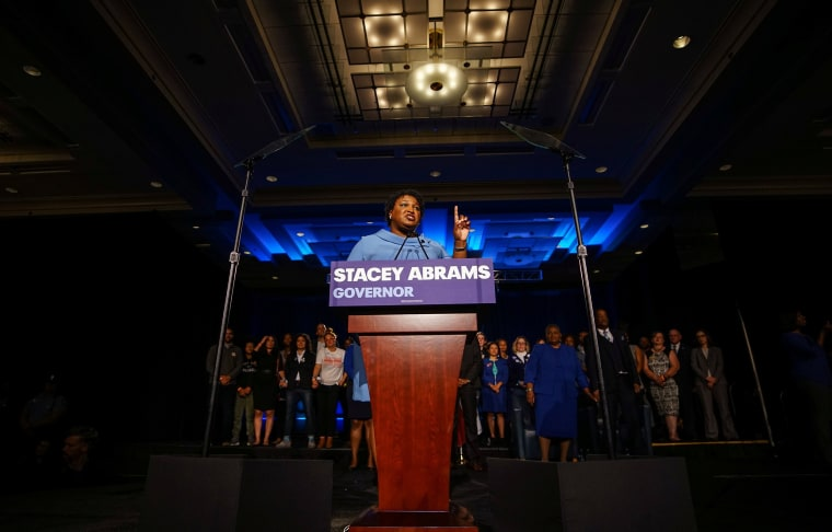 Stacey Abrams speaks to the crowd of supporters about the results of the midterms election in Atlanta