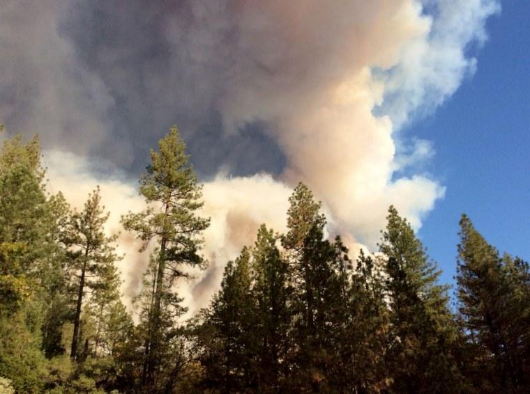 Fire smoke can be seen in Butte Counti, California, November 8, 2018.