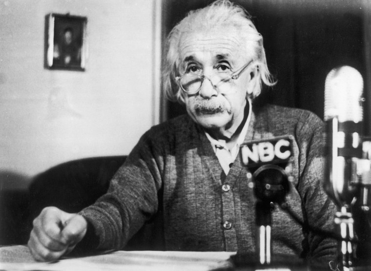 Image: Albert Einstein giving an anti-H bomb speech for the National Broadcasting Company