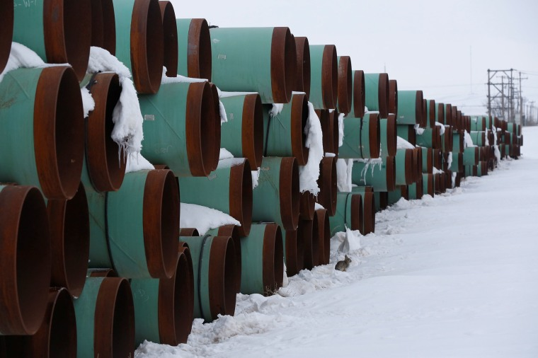 Image: A depot used to store pipes for Transcanada Corp's planned Keystone XL oil pipeline is seen in Gascoyne