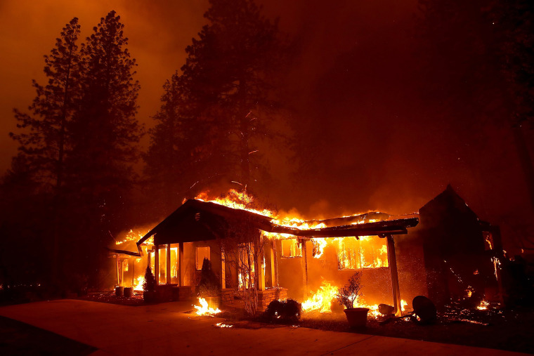A home burns in Paradise, California.