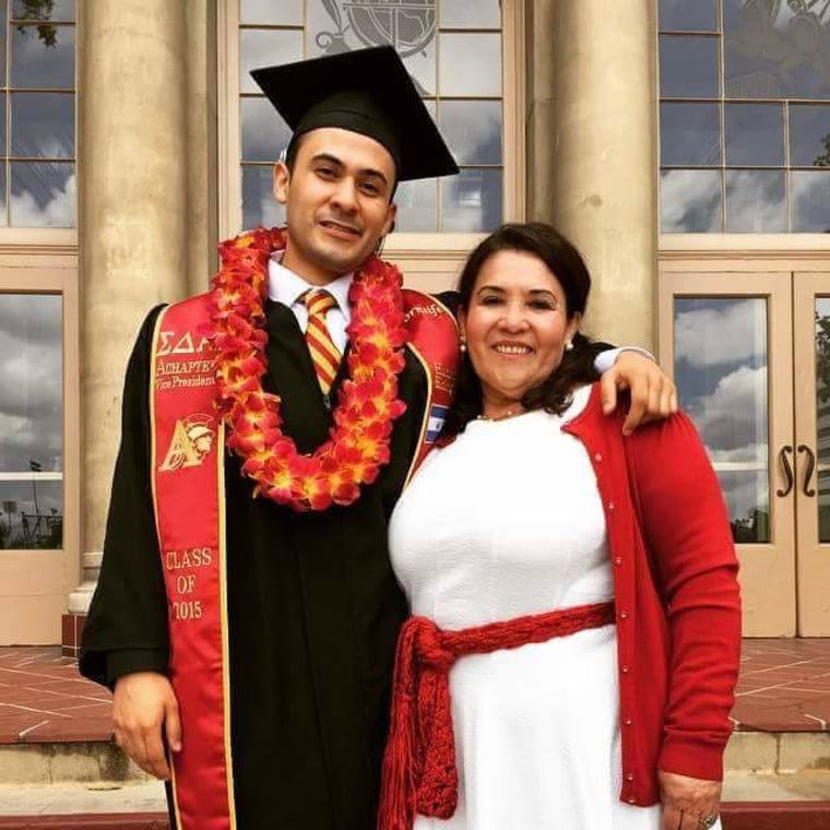 Founder Steven and mother Maria at his graduation from USC.