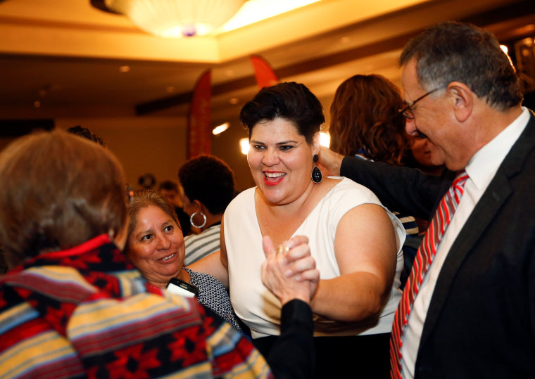 Image: Democratic U.S. House Representative-elect Raquel Teran hugs supporters at the Arizona Democratic Party Election Night Party at the Renaissance Phoenix Downtown Hotel in Phoenix, Arizona
