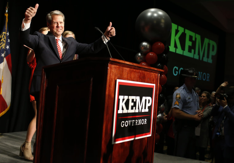 Republican Brian Kemp speaks to supporters on election night in Athens, Georgia, on Nov. 7, 2018.