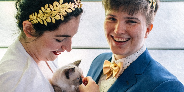 A couple who had kittens at their wedding