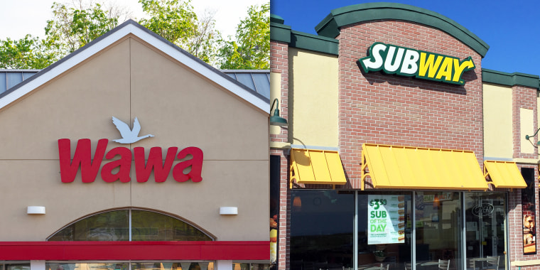 Wawa signage/store and Subway signage/store