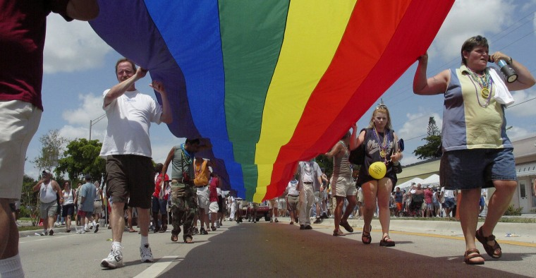 People walk during the Stonewall Street Festival and Parade in Wilton Manors, Florida, in 2004.