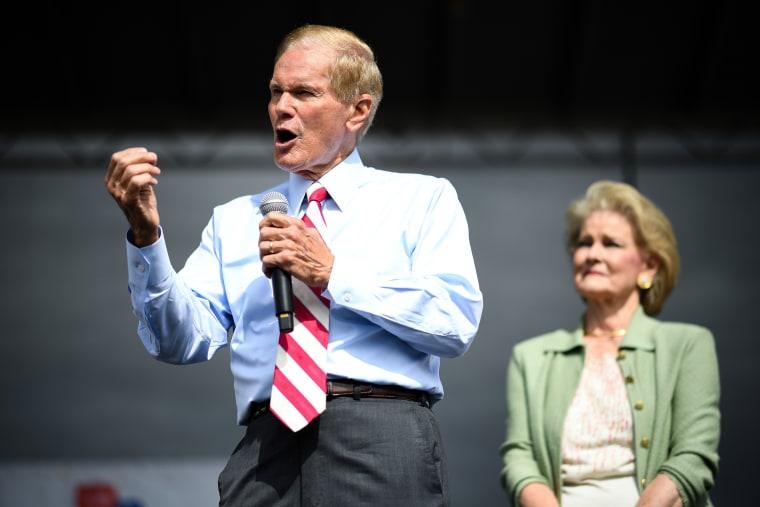 Senator Bill Nelson campaigns in Kissimmee, Florida, on Nov. 4, 2018.