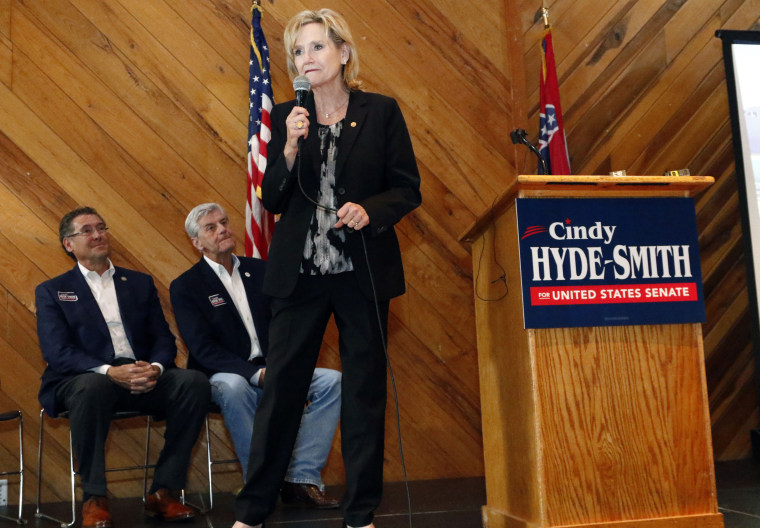Senator Cindy Hyde-Smith addresses a gathering of supporters in Jackson, Missisippi on Nov. 5, 2018.