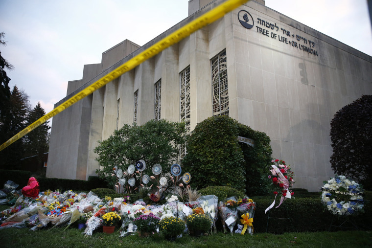 A memorial for the 11 victims of a shooting at the Tree of Life synagogue in Pittsburgh on Oct. 29, 2018.