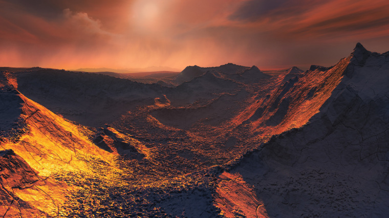 "An artist's illustration of the surface of the ""super-Earth"" planet candidate detected around Barnard's star, which lies just 6 light-years from the sun."