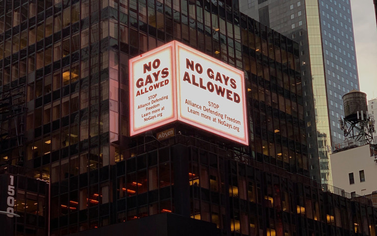 The No Gays Allowed billboard in Times Square