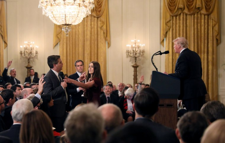 CNN White House correspondent Jim Acosta questions President Donald Trump during a news conference in the East Room of the White House on Nov. 7, 2018.