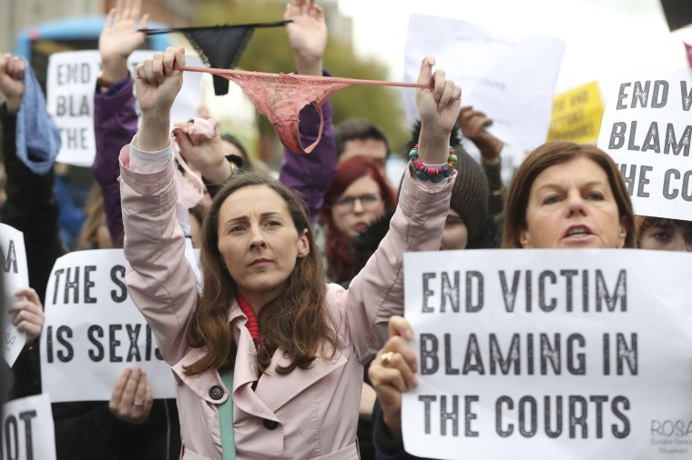 Image: People gather for a protest in support of victims of Sexual violence on O'Connell Street, Dublin