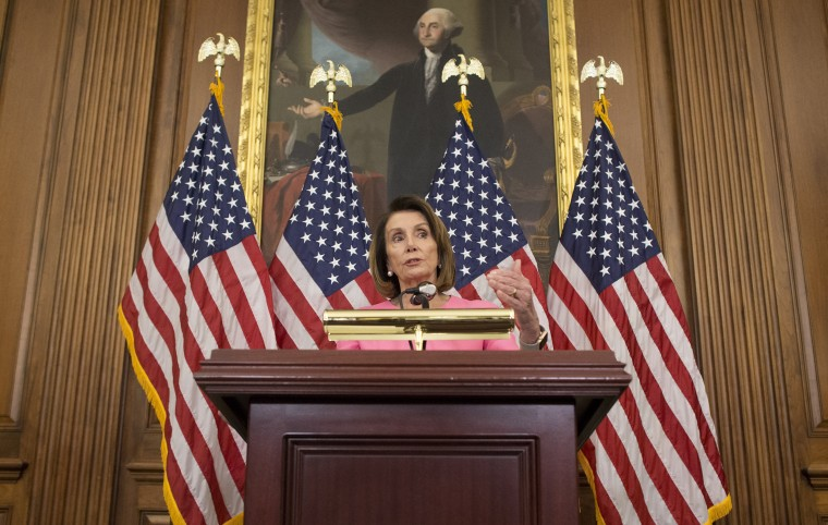 Image: House Minority Leader Nancy Pelosi holds a news conference on the results of the 2018 midterm general election
