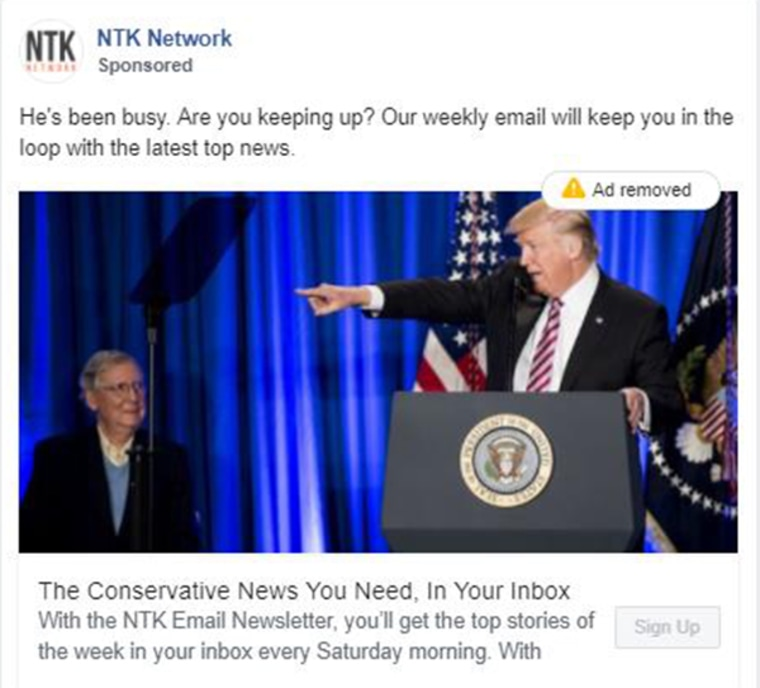 A NTK Network ad on Facebook.