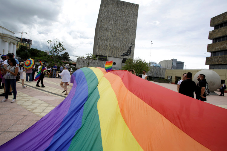 LGBT community members and activists call for same-sex marriage in San Jose, Costa Rica, on Aug. 4, 2018.