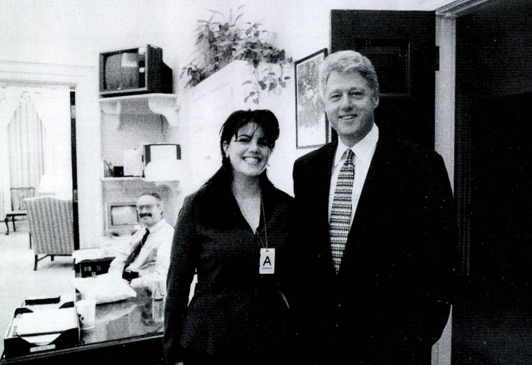 Monica Lewinsky meets with President Bill Clinton