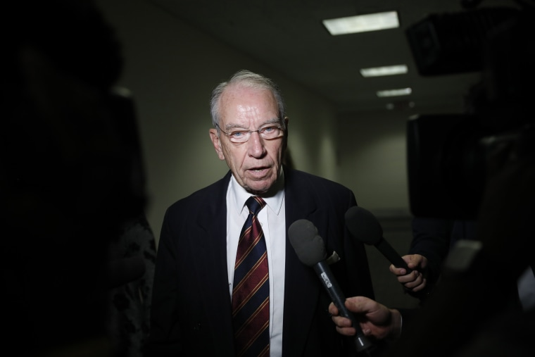 Senator Chuck Grassley speaks with reporters on Capitol Hill on Sept. 18, 2018.