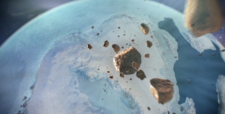 An illustration of asteroids heading towards Greenland.