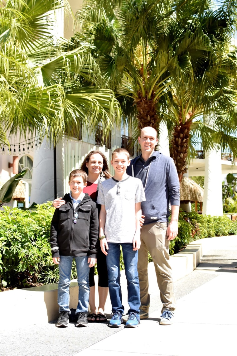 The Kauffman family on their trip to Disney World, the first time Miles, right, was able to eat at a restaurant.