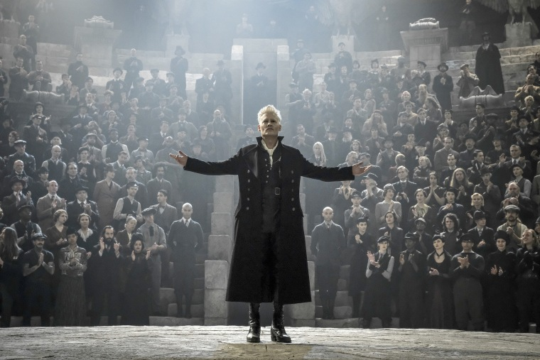 "Johnny Depp as Grindelwald in \""Fantastic Beasts: The Crimes of Grindelwald\""."