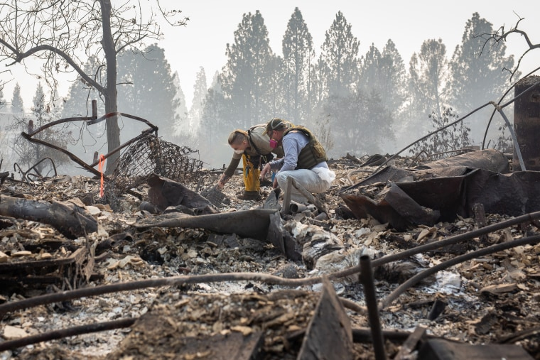 Search and rescue teams, often made up of volunteers, look for human remains among the debris of burned down homes on Nov. 16, 2018 in Paradise, California.
