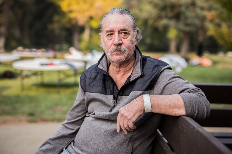 Randy Somerby, 65, has been staying at a Red Cross shelter since fire swept through his town of Paradise, California. [November 17, 2018 - Chico, California]