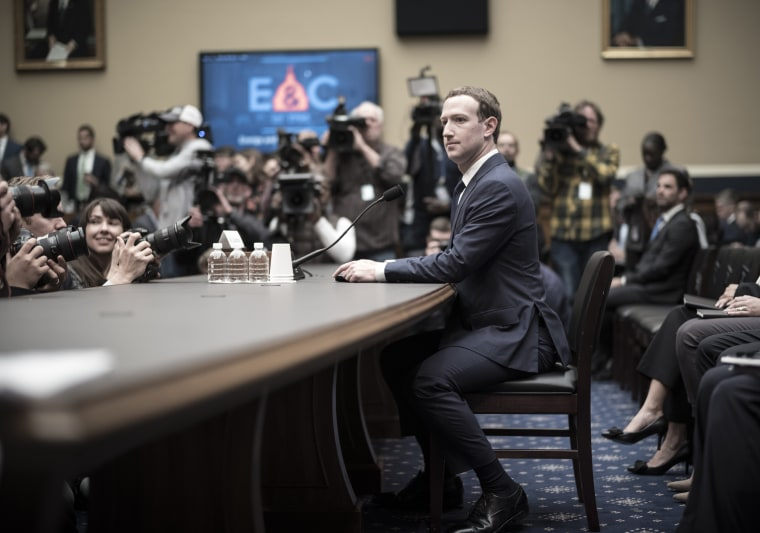 Facebook CEO Mark Zuckerberg appears before the House and Energy Committee in Washington on April 11, 2018.