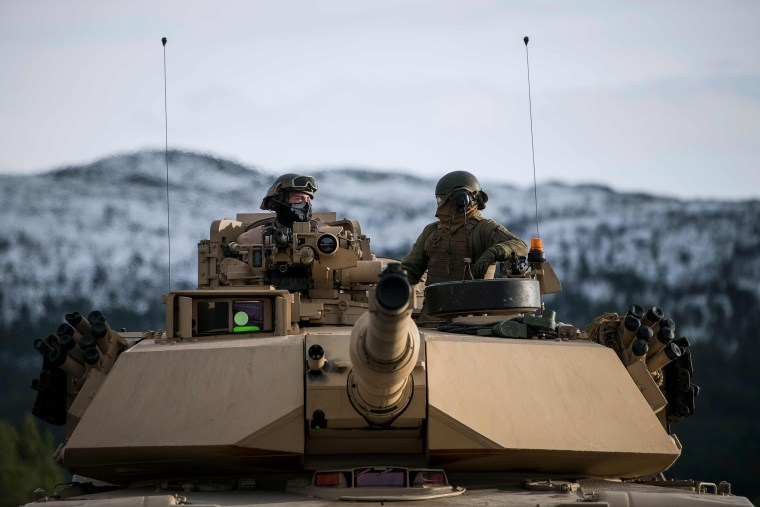 Image: U.S. Marines drive an M1 Abrams as part of Trident Juncture 2018