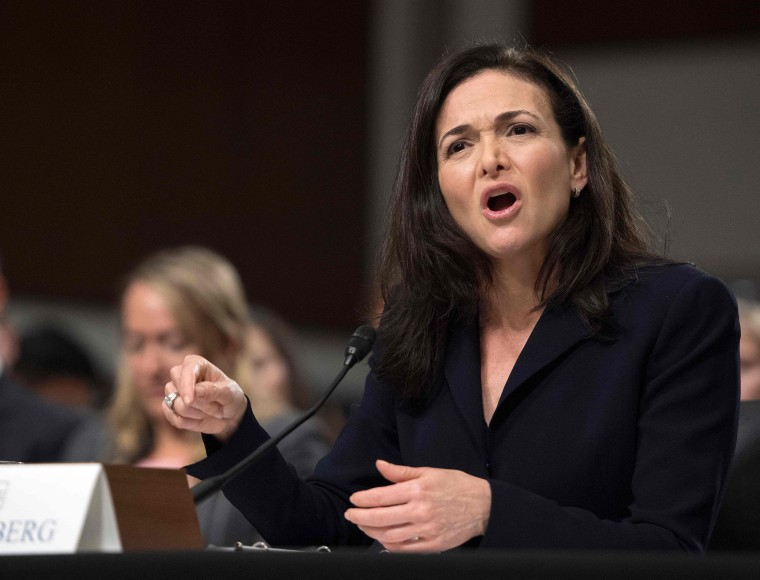 Facebook COO Sheryl Sandberg testifies before the Senate Intelligence Committee on Capitol Hill on Sept. 5, 2018.