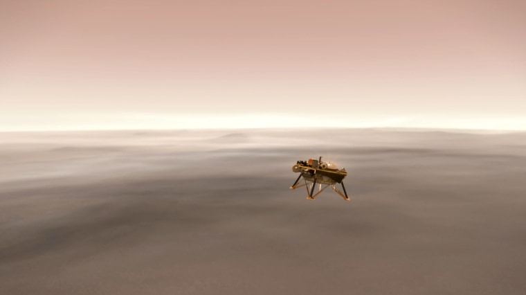 This illustration shows a simulated view of NASA's InSight lander firing retrorockets to slow down as it descends toward the surface of Mars.