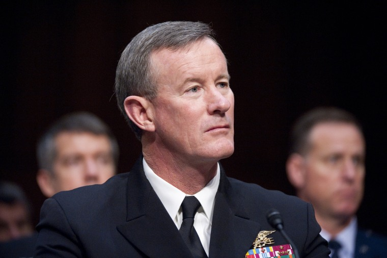 Navy Admiral Bill McRaven testifies during a Senate Armed Services Committee hearing in 2012.