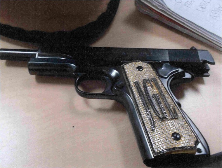 "Image: A diamond-encrusted pistol that government witness Jesus Zambada said belonged to the accused Mexican drug lord Joaquin ""El Chapo"" Guzman"