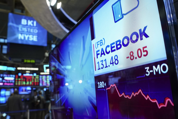 Facebook stock shares at the New York Stock Exchange on Nov. 19, 2018.