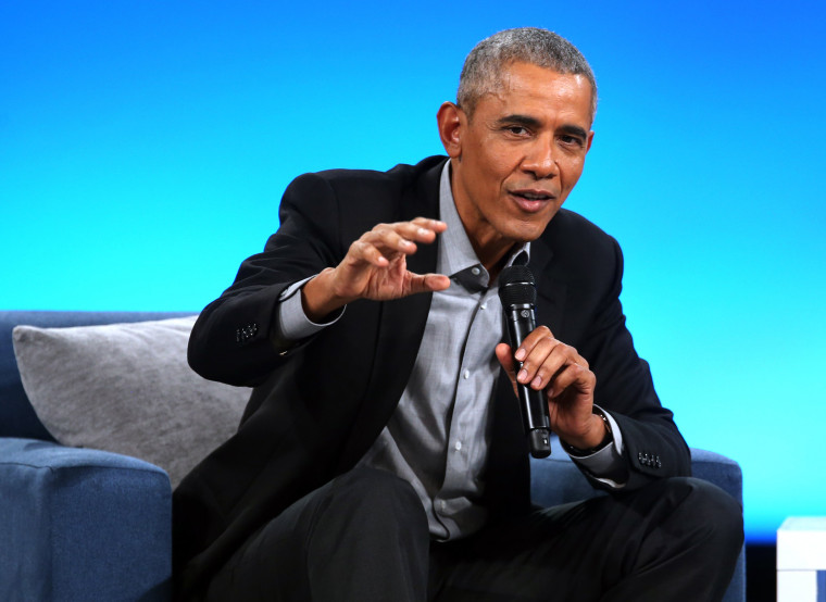 Former President Barack Obama speaks at the Obama Foundation Summit in Chicago on Nov. 19, 2018.