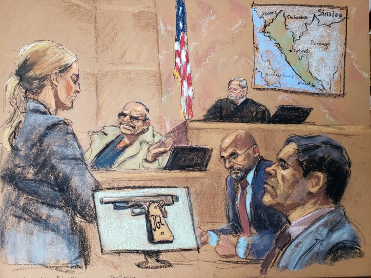 Assistant United States Attorney Gina Parlovecchio questions witness Jesus Zambada in Brooklyn federal court in New York