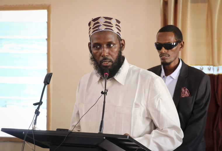 Image: Mukhtar Robow, who was once deputy leader of Africa's deadliest Islamic extremist group the al-Qaida-linked al-Shabab, speaks at a press conference about his candidacy for a regional presidency