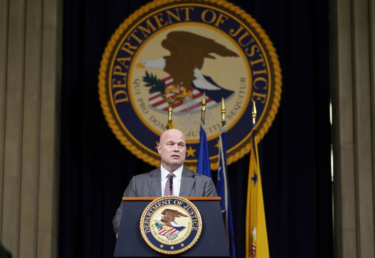 Acting Attorney General Matthew Whitaker speaks at the Justice Department in Washington on Nov. 15, 2018.